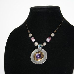 Vintagejelyfish Jewelry - Stunning silver gold purple bronze necklace